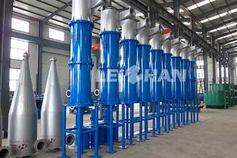 <strong>High Density Cleaner</strong> is used in paper pulping process. It can remove various kinds of heavy impurities, and it is a common used equipment since it has the advantages of high cleaning efficiency, low loss of fiber and etc. <h3>Working Principle</h3> High Density Cleaner is an infrequent pulping equipment which doesn't need a motor. It take advantage of the different proportion of fiber and impurities to separate them.Slurry enters cleaner in the tangent direction from feed pulp. Because of the different eccentricity,heavy impurities is pushed toward shell wall, and with the action of gravity, it finally falls down to the sediment trough. At the same time fiber gradually runs to central low-pressure area and spiral rise after arriving at the bottom. <h3>Advantages</h3> <p>1.Operating consistency of can reach 2% during pulping process, which reduces the loss of fiber and improves production capacity. The needed segments and numbers of cleaner reduce accordingly.In other words, it effectively reduces pulping equipment<br /> 2.High cleaning efficiency avoids the accumulation of ash content in latter sections.<br /> 3.High reliability of operation; would not be blocked. </p> Leizhan provides various kinds of paper and pulping equipment, welcome to contact us for more details.